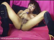 shemale opal wanking and cumming